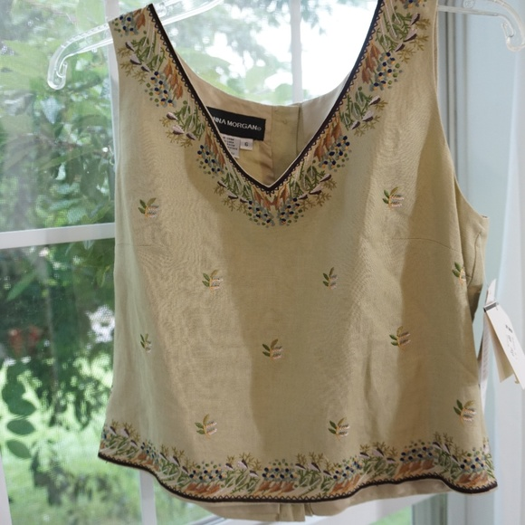 7878b17860 Donna Morgan Blouse Sleeveless Embroidered 6 NWT